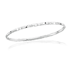 0.13 Cts Black Diamond Hammered Bangle in 14K White Gold