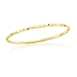 0.13 Cts Black Diamond Hammered Bangle in 14K Yellow Gold