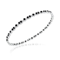1.37 Cts Black Diamond Eternity Bangle in 14K White Gold