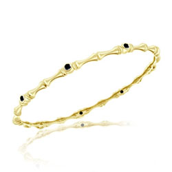 0.47 Cts Black Diamond Bamboo Bangle in 14K Yellow Gold