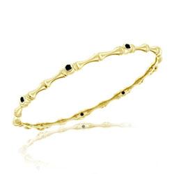 0.47 Cts Black Diamond Bamboo Bangle in 14K Yellow Gold
