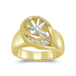 0.16 Cts Diamond Ring Setting in 14K Yellow Gold