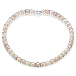 10 mm Natural Freshwater Cultured Pearl Necklace in Silver