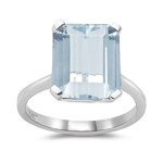 3.24 Cts of 10x8 mm AA Emerald Sky Blue Topaz Ring in 10K White Gold