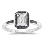 0.10 Cts Black Diamond & 1.30 Cts White Topaz Ring in 10K White Gold