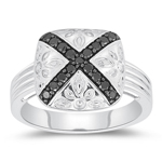 0.35 Cts Black Diamond Ring in Silver