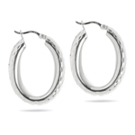 Oval Hoop Earrings in Sterling Silver
