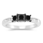 1.00 Ct Black & White Diamond Ring in 10K White Gold