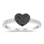 0.30 Cts Black & White Diamond Heart Ring in 10K White Gold