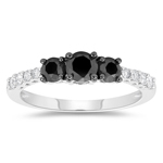 1/2 Cts Black & White Diamond Ring in 10K White Gold