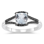0.20 Cts Black Diamond & 0.85 Cts Aquamarine Ring in 10K White Gold
