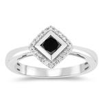 1/2 Cts Black & White Diamond Ring in 10K White Gold