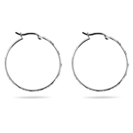 Round Diamond Cut Hoop Earrings in Sterling Silver
