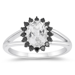 0.25 Cts Black Diamond & 1.80 Cts White Topaz Cluster Ring in 10K White Gold