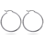 Twisted Round Hoop Earrings in Sterling Silver
