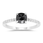 1.15 Cts Black & White Diamond Ring in 14K White Gold