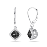 2.00 Cts Black Diamond Earrings in 14K White Gold