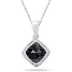 1.45 Cts Black Diamond Solitaire Pendant in 14K White Gold