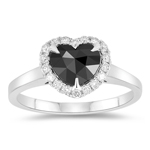 1.40 Cts Black & White Diamond Heart Ring in 14K White Gold
