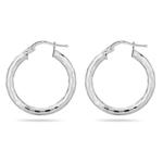 Diamond Cut Tube Earrings in Sterling Silver