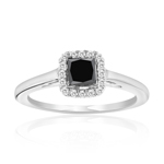 1/2 Cts Black & White Diamond Ring in Silver
