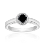 0.60 Cts Black & White Diamond Ring in Silver