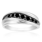 1.00 Ct Black Diamond Ring in Sterling Silver