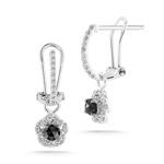 4/5 Cts Black & White Diamond Earrings in 14K White Gold