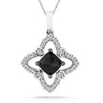 0.90 Cts Black & White Diamond Pendant in 14K White Gold