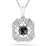 0.35 Cts Black & White Diamond Pendant in 14K White Gold - Christmas Sale
