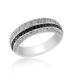 3/4 Cts Black & White Diamond Ring in 14K White Gold