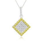 0.66 Cts Yellow & White Diamond Pendant in 14K White Gold