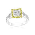 0.85 Cts Yellow & White Diamond Ring in 14K White Gold