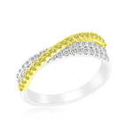 0.60 Cts Yellow & White Diamond Ring in 14K Two Tone Gold