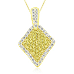 3/4 Cts Yellow & White Diamond Fancy Diamond-Shaped Pendant in 14K Yellow Gold