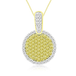 3/4 Cts Yellow & White Diamond Circle Pendant in 14K Yellow  Gold