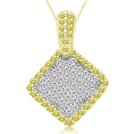 3/4 Cts Yellow & White Diamond Kite-Shaped Pendant in 14K Yellow  Gold