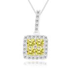 1/2 Cts Yellow & White Diamond Pendant in 14K White Gold