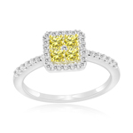 0.66 Cts Yellow & White Diamond Ring in 14K White Gold