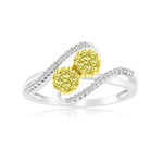 0.45 Cts Yellow & White Diamond Ring in 14K White Gold