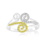 0.35 Cts Yellow & White Diamond Ring in 14K White Gold