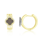 0.66 Cts Brown & White Diamond Hoop Earrings in 14K Yellow Gold