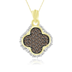 1/2 Cts Brown & White Diamond Pendant in 14K Yellow Gold