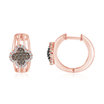 0.66 Cts Brown & White Diamond Flower Hoop Earrings in 14K Pink Gold