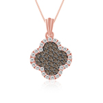 1/2 Cts Brown & White Diamond Pendant in 14K Pink Gold