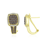 1.60 Cts Brown & White Diamond Earrings in 14K Yellow Gold