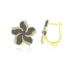 1.00 Ct Brown & White Diamond Earrings in 14K Yellow Gold