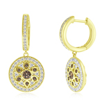 1.05 Cts Brown & White Diamond Earrings in 14K Yellow Gold