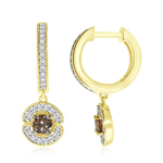 0.85 Cts Brown & White Diamond Earrings in 14K Yellow Gold