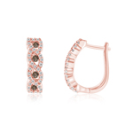 0.66 Cts Brown & White Diamond Swirl Hoop Earrings in 14K Pink Gold